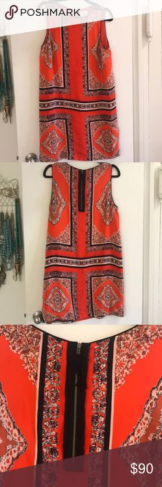 Anthropologie Maeve Print Shift Dress Beautiful Anthropologie Maeve Shift dress in orange! Perfect to wear now with a leather jacket, or to transition you into spring!  Great condition, no snags, pulls or pilling! Anthropologie Dresses