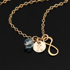 Items similar to INFINITY Initial Necklace, Personalized Necklace, Small Initial Disc Necklace, Birthstone Necklace, Vermeil and Filled. Initial Disc Necklace, Infinity Charm, Birthstone Necklace, Personalized Necklace, Round Beads, Necklace Lengths, Custom Jewelry, Natural Gemstones, Birthstones