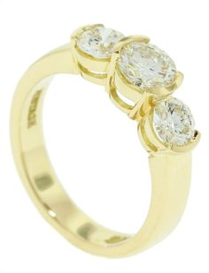 Yellow Gold Three diamond rub over Ring - Brisbane Jeweller - Engagement Rings - MONTASH Jewellery Design - www.montash.com.au