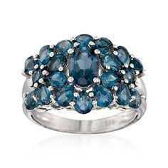 4.75 ct. t.w. London Blue Topaz Cluster Ring in Sterling Silver