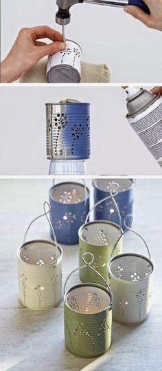 DIY Garden Lighting Ideas Home Crafts, Diy Home Decor, Diy Garden Decor, Garden Crafts, Tin Can Lanterns, Garden Lanterns, Aluminum Cans, Tin Can Crafts, Aluminum Can Crafts