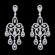 5 carat LARGE diamonds chandelier earrings white gold women jewelry dangling
