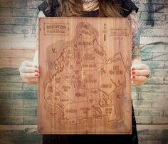 ooh, pretty. Wood Engraved Cities Map