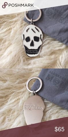 Alexander McQueen keychain New Alexander McQueen skull keychain. Color is actually off white and black. Comes with dust bag. Never used, but doesn't have original tags attached. Alexander McQueen Accessories Key & Card Holders