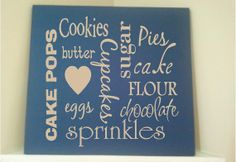Beautiful 8x10 wooden board sign with subway art quote cake cookies cupcakes on Etsy, $14.99