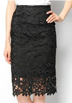 Black Floral Hollow-out Lace Skirt