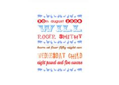 Poppito - Product: Silhouette Baby Birth Announcement Canvas £22.00 Celebration canvas art