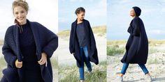 Модное широкое пальто спицами платочной вязкой. Стильное и модное женское пальто свободного широкого фасона, связанное спицами платочной вязкой из толстой пряжи.