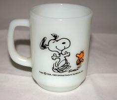 Fire King *SNOOPY Peanuts *AT TIMES LIFE IS PURE JOY MUG* AHFK USA Cup