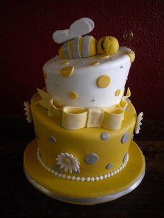 """What Will it Bee?"" Gender Reveal Cake Bee Gender Reveal, Baby Shower Gender Reveal, Baby Gender, Gender Party, Baby Reveal Cakes, Baby Shower Cakes, Baby Boy Shower, Gender Reveal Decorations, Bee Cakes"
