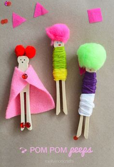 MollyMoo – crafts for kids and their parents Pom Pom Wooden Peg Dolls - Make and Play Craft Activities For Kids, Projects For Kids, Diy For Kids, Craft Projects, Crafts For Kids, Creative Activities, Craft Ideas, Creative Crafts, Fun Crafts