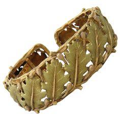 Buccellati Leaf Motif Gold Cuff Bracelet   From a unique collection of vintage cuff bracelets at https://www.1stdibs.com/jewelry/bracelets/cuff-bracelets/