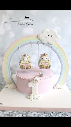 Ahhhdorable unicorn cake for twins! #unicorncake #unicornbirthday #firstbirthday