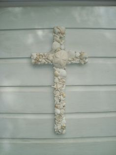 All White Seashell Wooden Cross on Reclaimed by MyHoneypickles  Make beautiful wedding cross & special keepsake