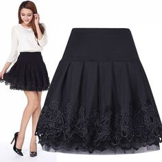 2016 Tulle faldas Curta Saia De Renda Femininas High Waist Short Lace Tutu Skirt Female Pleated Women Skirts saias jupe C157