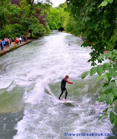 River Surfing at #Eisbach #Munich #Germany #riversurfing