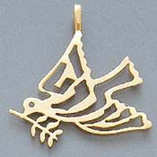 Gold/Large-Shalom Dove of Peace Pendant. The word Shalom is written in Hebrew in the dove's wings and tail. I own this, always wanted as a tattoo