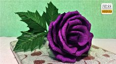 Super easy way to make purple rose paper flower| diy rose crepe paper fl...