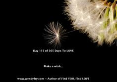 Day 115 of 365 Days to LOVE.  Make a wish... Many wish for love thinking it is something external outside of themselves.  The truth is you already are love.   When you realise this and you have loving, kindly thoughts you have about yourself, it attracts other loving kindly souls towards you. Love has an energetic vibration, like attracts like.  Make a wish on love if only to be more loving to yourself today and every day, this in turn will increase love in your relationships.