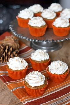 Pumpkin Spice Latte Cupcakes - these have whipped cream icing.  Yum if you have a crowd, if not, I'd sub cream cheese icing.  Either way, YUMMEE!!