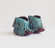 Baby Moccasin Boots, Hand Painted Shabby Chic Turquoise Fringe and Brown Baby Western Boots, Cowboy Boots, Fringe Booties, Baby Gift, Unisex