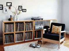 French By Design: At home with Krisztina Vinyl shelves & vintage turntable