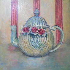 Kitchen Wall Art Oil Still Life Gift Painting Antique Teapot Roses Canvas Soft Painting Still Life Oil Painting, Daily Painters, Kitchen Wall Art, Kitchen Decor, Selling Art, Texture Painting, Dog Art, Beautiful Paintings, Art Oil