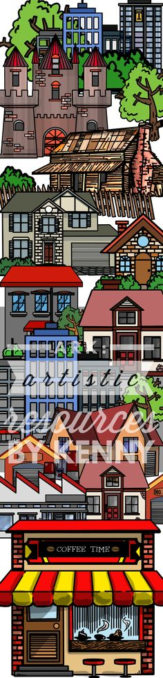 Building Clip art   This set can be used as clipart or for coloring fun:   1) 5x House designs  2) 1x Factory  3) 1x Coffee joint, cafe.  4) 2x Comercial buildings  5) 1x Garage  6) some Shrub and tree  7) Castle  9) Barn house  1Free Frame