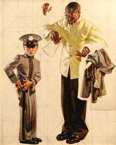 """For Sale on - Preliminary Study for a Saturday Evening Post Cover """"Tipping the Porter"""", Paper, Oil Paint, Pencil by Joseph Christian Leyendecker. Art And Illustration, American Illustration, Illustrations, Joseph, Jc Leyendecker, Saturday Evening Post, National Art, Norman Rockwell, Traditional Paintings"""