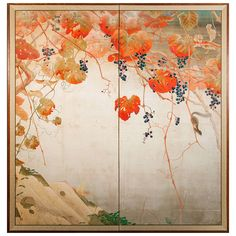Japanese Screen Autumnal Screen of Grape Arbor with Squirrel | From a unique collection of antique and modern paintings and screens at https://www.1stdibs.com/furniture/asian-art-furniture/paintings-screens/