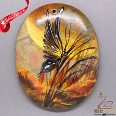 Jewelry Pendant Hand Painted Butterfly Natural Gemstone  necklace ZL805566 #ZL #Pendant