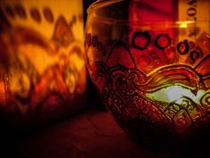 Hand Painted Glass Mandala Tealight Bowl by Anumvella on Etsy