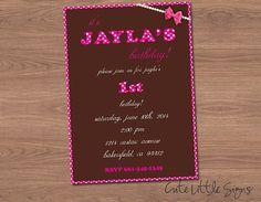 Pink Polka Dot Birthday Invitation Digital by CuteLittleSigns