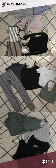 CHEAP BRANDY Can list separate listings or bundles:) Faye tank pink bodysuit and black lululemon sports bra(size 2) are NWT everything else is NWOT only worn once or twice which is why I'm selling, pink bodysuit is pacsun, black crochet romper is boutique brand, green romper is urban outfitters, sports bra is lululemon, denim shorts is American apparel(size 26) everything else is brandy! Feel free to ask questions and make offers;)) CHEAPER ON MERC Brandy Melville Other