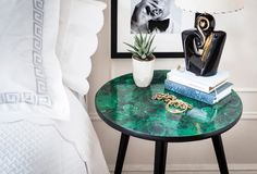 How to make gorgeous decoupage MARBLE FABRIC chairs and tables from Megan at One Kings Lane #diy