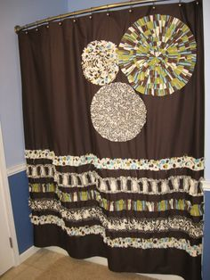 Shower Curtain Custom Made Designer Fabric Ruffles And Flowers Natural  Chocolate Brown Cream Olive Green Teal Blue Damask Dots Stripes