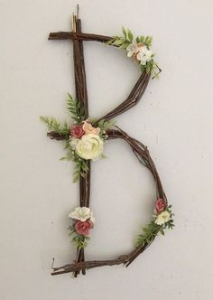 Woodland Nursery Letter Twig Monogram Number Rustic Wall Baby Girl Fairy Wedding Shower Decor Whimsical Nature Decoration Natural ABC Art This fanciful twig monogram is accented with hand-assembled, high-quality, faux flowers. We will custom match it to any color choices; include