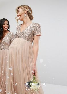 Buy Maya Maternity Bridesmaid V Neck Maxi Tulle Dress with Tonal Delicate Sequins at ASOS. Get the latest trends with ASOS now. Maternity Gowns Formal, Maternity Bridesmaid Dresses, Cute Maternity Outfits, Stylish Maternity, Pregnancy Outfits, Maternity Fashion, Asos Maternity, Pregnant Bridesmaid, Dresses For Pregnant Women