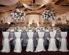 Pink Posh Photography | Houston Texas Vietnamese Wedding | Kim Son Reception | Ballroom Fabric Draping | Draped Silver Chivari Chairs | Tall Flower Centerpieces | Silver White and Pink Decor