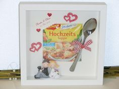 Geldgeschenke money gift picture frame wedding wedding soup a unique product by Festtags-Shop on DaWanda Wedding Picture Frames, Wedding Frames, Diy Wedding, Wedding Gifts, Wedding Soup, Diy Gifts Paper, Diy Presents, Don D'argent, Indoor Christmas Decorations