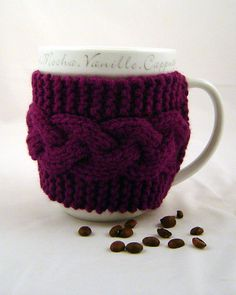 handmade knitted mug cozy.. too cute.