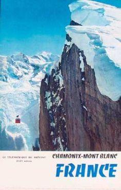 vintage ski poster. Chamonix- Mont Blanc  1959