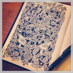 William Morris inspired wallpaper pattern sketch