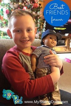 "One happy boy!! He has begged for an ""American Boy"" Doll and he was extremely excited when he opened his new pal Levi! Thank you My Sibling and My Pal!!! - J. Knight"