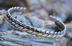 "B & L Steel & Leather Open Armband ""Verona""- Steel - Sazou"