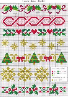 Cenefas Navidad. Punto cruz