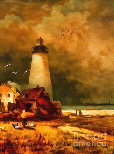 Sandy Hook Lighthouse - After Moran by Lianne Schneider #lianneschneider