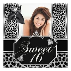 Sweet Sixteen 16 Leopard Birthday Party Photo Invite