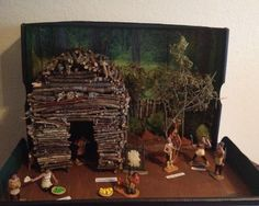 4th Grade Diorama Project Eastern Woodland Iroquois Longhouse (Found a set of Native American Toys at Michael's and used marker to paint pants on them so they were more realistic. Real Moss and sticks. Food made from Sculpey clay)