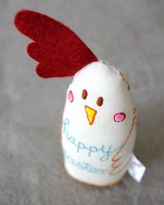 Handmade Toy Chicken with Blue Easter Detail by TheFoxintheAttic. Muy Adorable~
